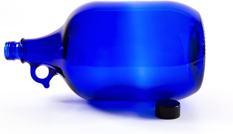 Botella de cristal de 5 litros decoraci/ón azul botella de cristal azul con cierre de rosca y asa. flor de la vida