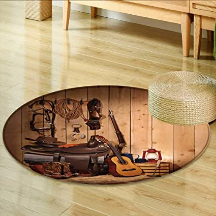 Amazon.com: Round Area Rug Carpet A Western Themed Layout ...