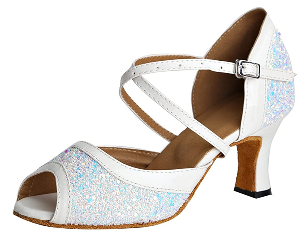 2.4IN,Indoor Sole Abby 8036 Womens Classic Wedding Party Standard Training Adjustable Buckle Glittering Bright Dress Vogue Rumba Peep Toe Fresh Latin Soft Dance Shoes Block Heel White US 5