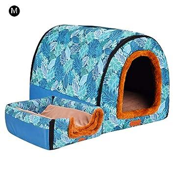 Depruies - Caseta para Perro Desmontable y Lavable, Doble Uso, tamaño Grande, Green Leaves, Medium: Amazon.es: Hogar