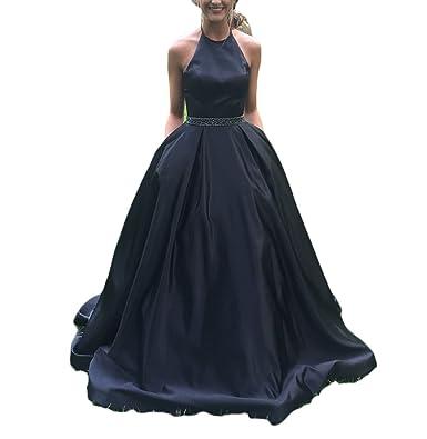 Fishlove 2018 Long Navy Blue Halter Neck Beaded Prom Dresses For Seniors E125
