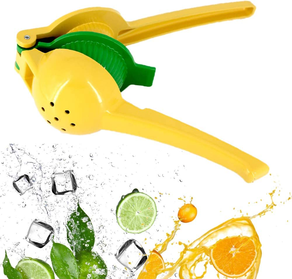 YouTop Lemon Squeezer Lime Handheld Press Manual Juicer Cocktail Mocktail Premium Quality Fruit Press with 2 in 1 Double Layers Yellow