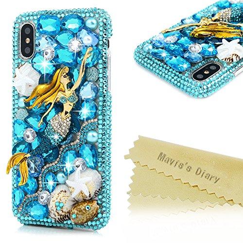 iPhone X Case, iPhone Xs Case, Maviss Diary Crystal Ocean Style 3D Handmade Bling Blue Diamonds Full Rhinestone Shell Mermaid Shiny Gems Hard PC Plastic Case [ Full Edge Protection ] Cover