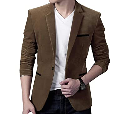2f332e4679b Unastar Men Business Casual Fleece Fall Winter Plus-Size Suit Coat Jacket  Brown S