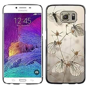 LECELL--Funda protectora / Cubierta / Piel For Samsung Galaxy S6 SM-G920 -- Butterfly Field Grey Summer Nature --