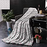 Kenneth Camilla Soft Blanket Microfiber Bicycle,Springtime Accessories Drawing Bicycle Scarf Headphones Dove