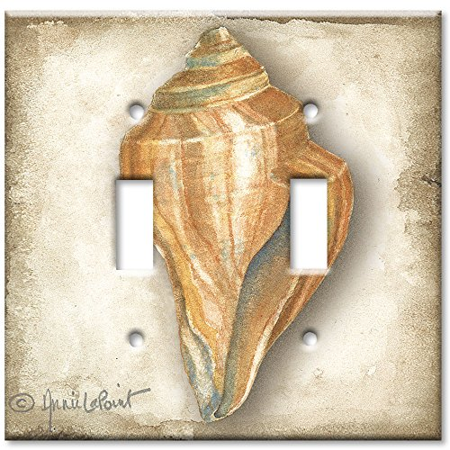 (Art Plates - Double Gang Toggle OVERSIZE Switch Plate/OVER SIZE Wall Plate - Sea Shell)