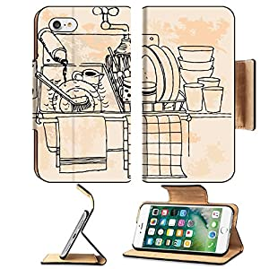 MSD Premium Apple iPhone 7 Flip Pu Leather Wallet Case Hand drawn vintage kitchen IMAGE 20014188
