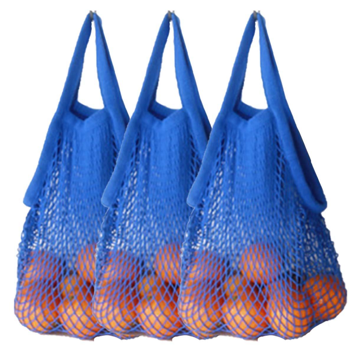2019年秋冬新作 ahyuan Reusable ブルー Grocery ブルー Bagsコットン文字列バッグメッシュバッグのセット3 B07123S1QF B07123S1QF ブルー ブルー, ルイボスファクトリー:5d52285f --- 4x4.lt