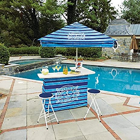 Tommy Bahama Outdoor Bar And Umbrella Set For Poolside Deck Portable Party