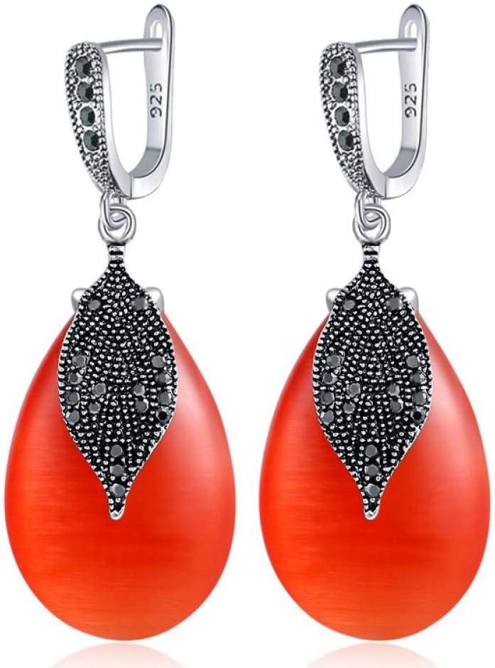 MNGGNM Pendientes Largos de Piedra Mujeres con Hoja de Diamantes de imitación Negros Accesorios de Fiesta chapados en Color Plateado Antiguo
