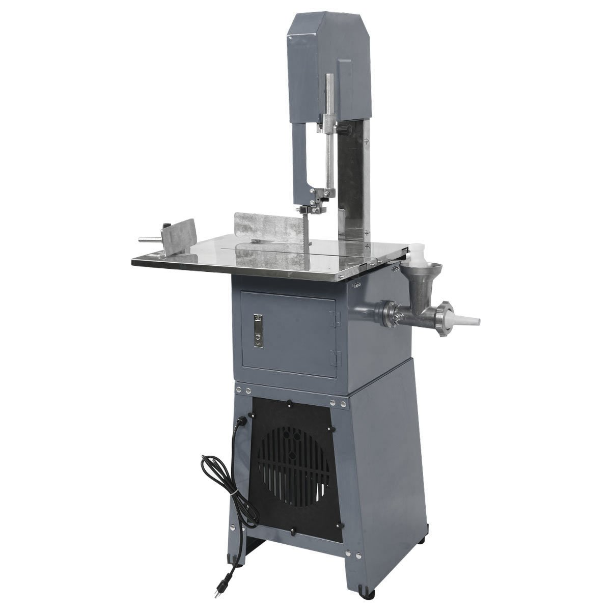 Tangkula Electric 550W Proffessional Stand Up Butcher Meat Band Saw & Grinder Processor Sausage Gray