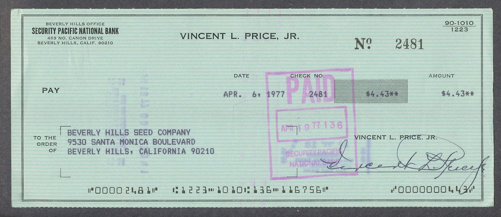 Vincent Price Certified Autographed Processed Canceled Check Autographed *2481 Certified Certified
