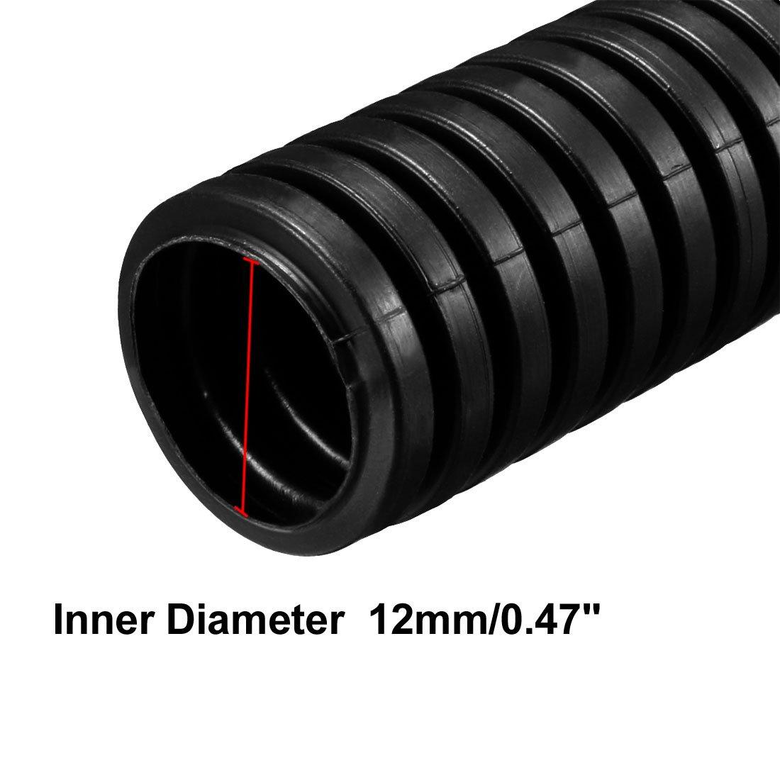 color negro Tubo de escape corrugado para cableado el/éctrico Sourcingmap 2 m, 15,8 mm