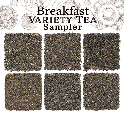 Loose Leaf Breakfast Tea Sampler, 6 Pack Tea Assortment of Black Teas, English Breakfast, Irish, Scottish, Indian, Oriental, Solstice Tea - Makes 90+ Cups