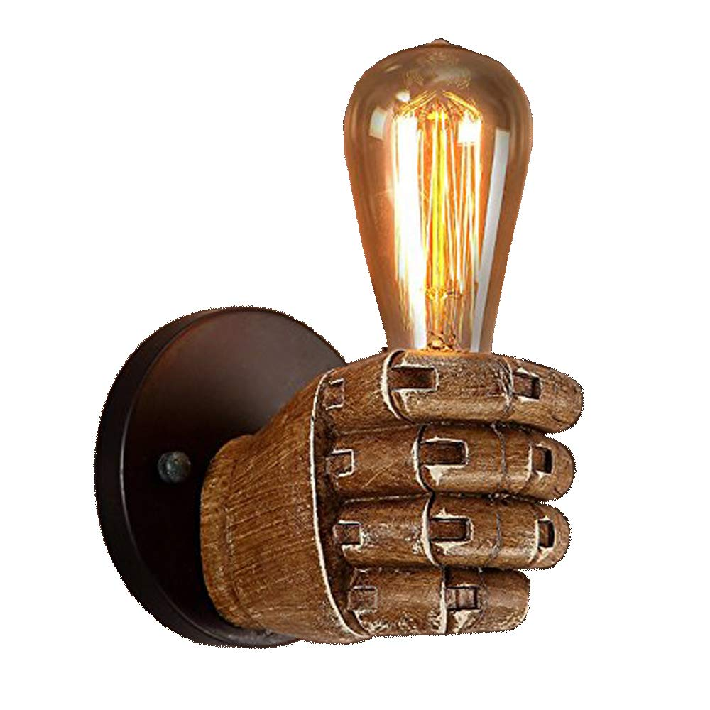 JINGUO Lighting Creative Industrial Wall Sconce 1 Light Wall Lamp Wall Light Fixture with Hand Shaped for Bedroom Kitchen Restaurant Cafe Bar Living Room Warehouse (Right)