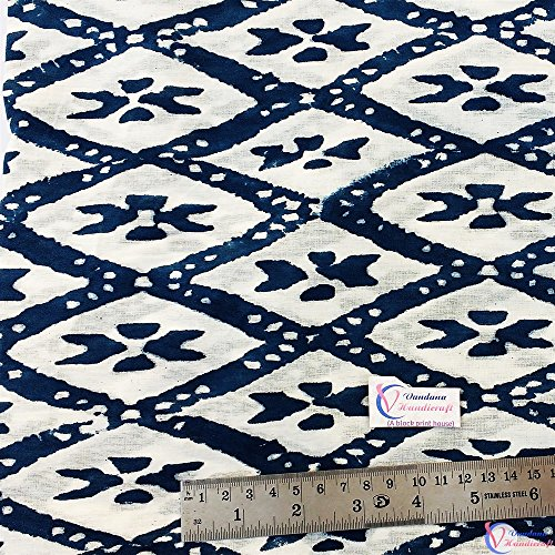 Ikat Yard Voile Block Hand Dress Fabric Cotton Table Fabric Indian fabric 2 fabric Print Printed garments Blue 5 Indigo Print YRx7q58