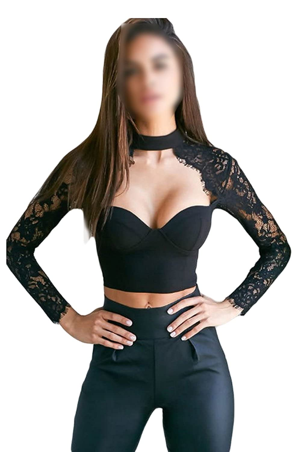 Women Casual Long Sleeve Halter Low Cut Lace Patchwork Bodycon T Shirt Crop Top CANZ1756-Black-M