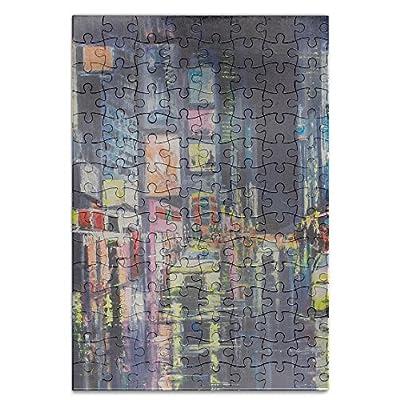 Sixokai Hand Assembled Puzzle Toys Original Acrylic Painting City Reflections 120 Piece