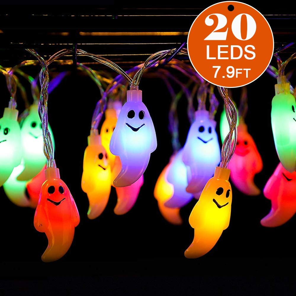 Halloween Decoration Ghost String Lights 20 LED 8FT Waterproof Battery Operated Fairy String Lights for Halloween Xmas Party Favor,Indoor/Outdoor,Window Patio Lawn Garden Party(Multi Color)