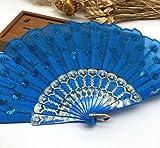 Blue Home Decoration Crafts Vintage Retro Peacock Folding Fan Hand Plastic Lace Dance Fans