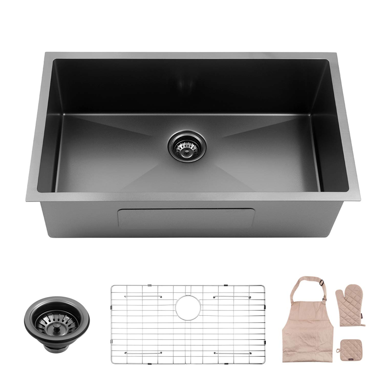 Lordear Black Kitchen Sink 32 Inch 16 Gauge 10 Inch Deep Brushed Nickel Drop In Single Undermount Single Bowl Stainless Steel Bar Sink