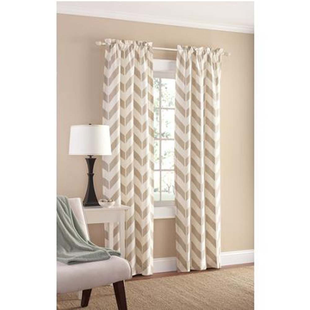 Amazon.com: Tan Chevron Panel Pair - 84 by Mainstay: Home & Kitchen