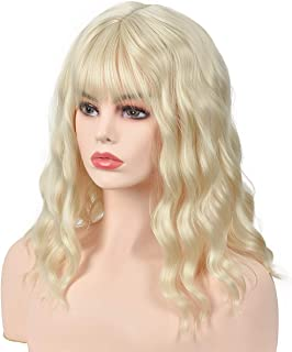 Amazon.com : MelodySusie Short Blonde Loose Wavy Curly Wig ...