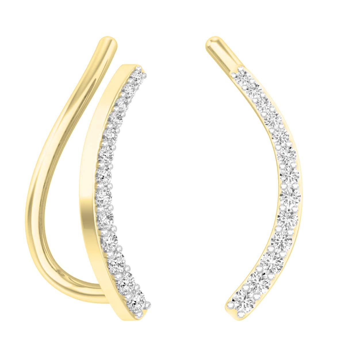Dazzlingrock Collection 0.15 Carat (ctw) 14K Round White Diamond Ladies Crawler Climber Earrings, Yellow Gold