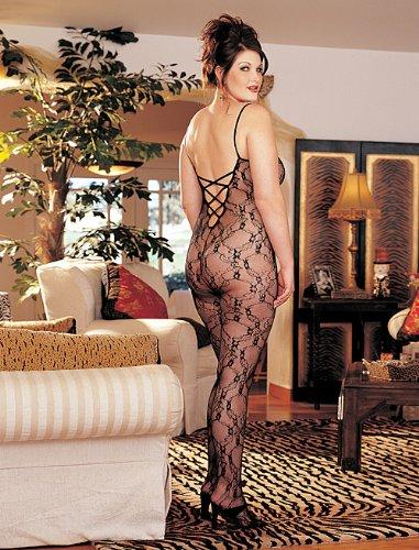(X96621 Plus Size Lace Bodystocking, Black)