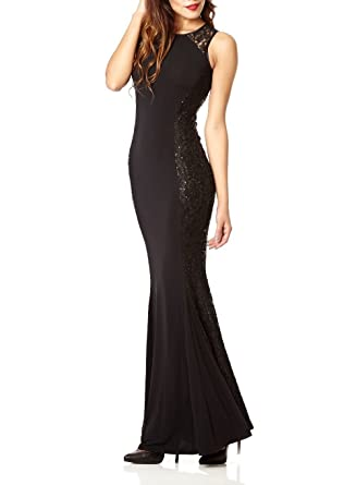 63243f2a81b EX QUIZ Black Sequin Lace Fishtail Party Evening Maxi Dress (8)   Amazon.co.uk  Clothing