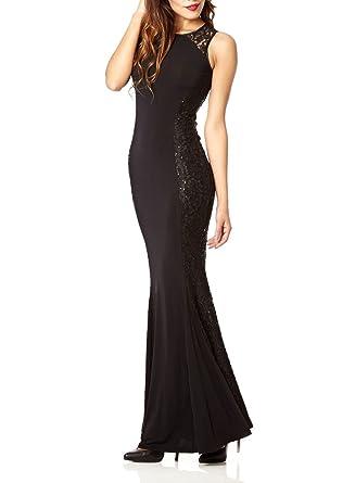 Ex Quiz Black Sequin Lace Fishtail Party Evening Maxi Dress 6