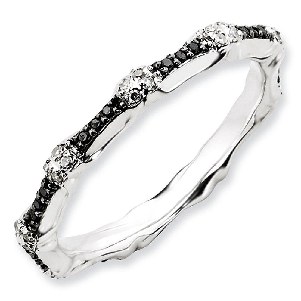 2.5mm Sterling Silver Multi Black and White Diamond Prong Set Eternity Anniversary Ring Band - Size 10