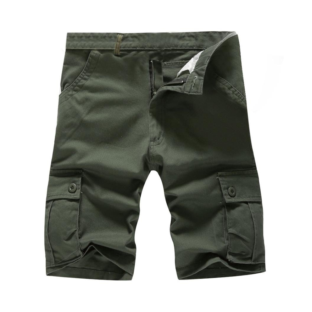AMSKY Mens Fashion Classic-Fit Casual Comfort Cargo Short with Pocket