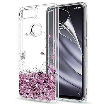 LeYi Funda Xiaomi Mi 8 Lite Silicona Purpurina Carcasa con HD Protectores de Pantalla, Transparente Cristal Bumper Telefono Gel TPU Fundas Case Cover ...
