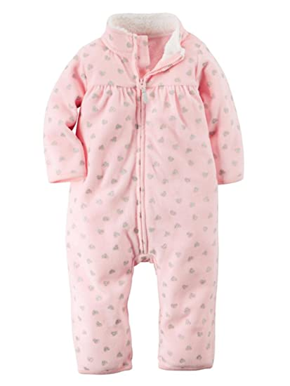 c52e4f3a4c3 Carter s Infant Girls Pink   Silver Heart Print Jumpsuit Coverall Outfit 3m