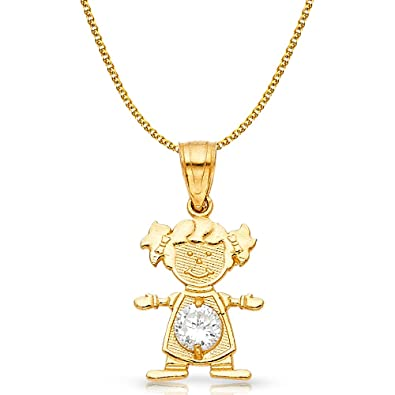 14K Yellow Gold April Birthstone Cubic Zirconia CZ Girl Charm Pendant with 0.9mm Singapore Chain Necklace