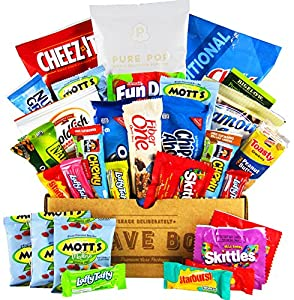 The Classic CraveBox (30 Count) - Variety Assortment Bundle of Snacks, Candy, Chips, Chocolate, Cookies, Granola Bars, and More!!