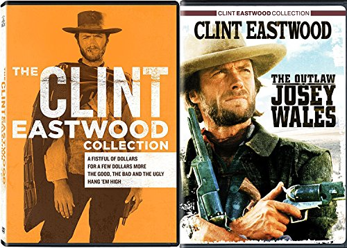 Clint Eastwood Western DVD Collection Outlaw Josey Wales + Sergio Leones Fistful of Dollars / A Few Dollars More + Hang 'Em High & The Good, Bad Ugly 5 movie Pack