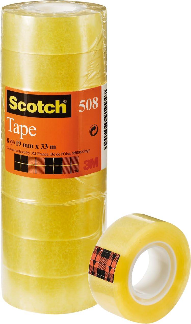 Scotch 508 - Cinta adhesiva 8 cintas, 19 mm x 33 m, transparente