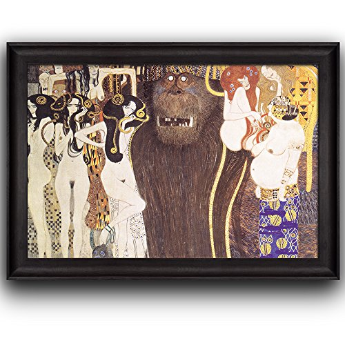 Wall26 - Beethoven Frieze - The Hostile Forces by Gustav Klimt - Framed Art Prints, Home Decor - 16x24 inches - Beethoven Frieze Klimt