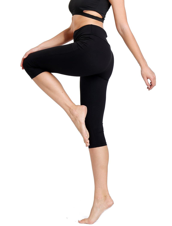 Women's High Waist Yoga Leggings Sport Fitness Capri Cropped Pants with Pocket CFR