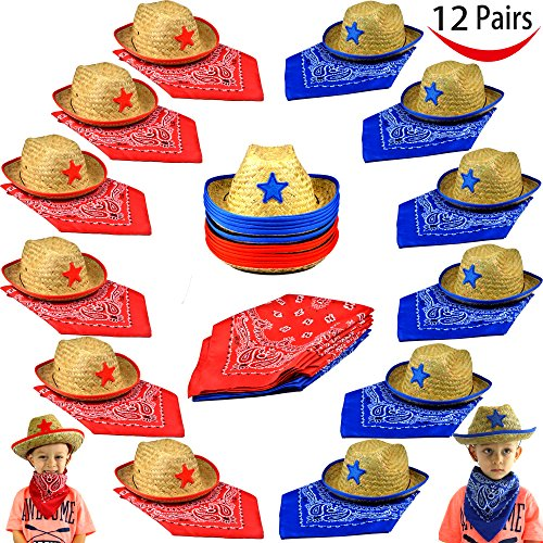 Pack of 12 Childs Straw Cowboy Hats with Cowboy Bandannas (6 red & 6 blue) Party (Cowboy Party Theme)