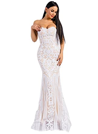 30f073a7ad9b Miss ord Women Sexy Bustier Mermaid Sequin Bodycon Long Dress White S at  Amazon Women's Clothing store: