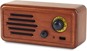 Bigger Rosewood Portable Radio Speaker, Retro Bluetooth Speaker Portable Wireless Powerful Sound Connection Strong Bass Volume Premium Stereo Surround Wooden Handmade Speakers for Home and Office