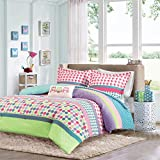 Girls Teen Kids Modern Comforter Bedding Set Pink Purple Aqua Blue Polka Dots Stripes Geometric Design with Owl Pillow. Includes Bonus Sleep Mask From Designer Home. (Full/Queen)