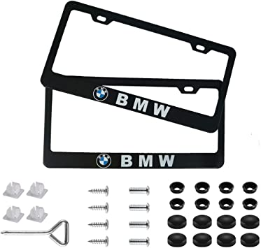 Wall Stickz Auto sport 2pcs License Plate Frames with Screw Caps Set Stainless Steel Frame Applicable to US Standard Cars License Plate Fit Corvette Accessory