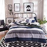 Bed Set Cotton Bedding Duvet Cover Set 4pcs/Set Duvet Cover Flat Sheet Pillow Case QF Queen Sheets Set 78''x90'' Twill Stripe Plaid Designs for Adults Kids (Mount Fuji, Grey, Queen, 78''x90'',4pcs/Set)