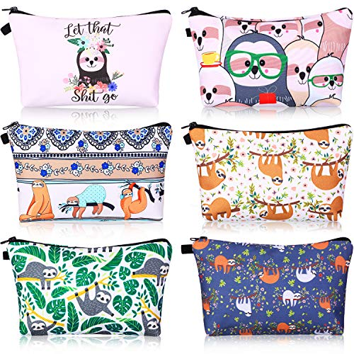 6 Pieces Makeup Bags Cosmetic Bags Travel Make up Pouches Cartoon Sloth Toiletry Bag for Women Valentine's Day Mother's Day Gift