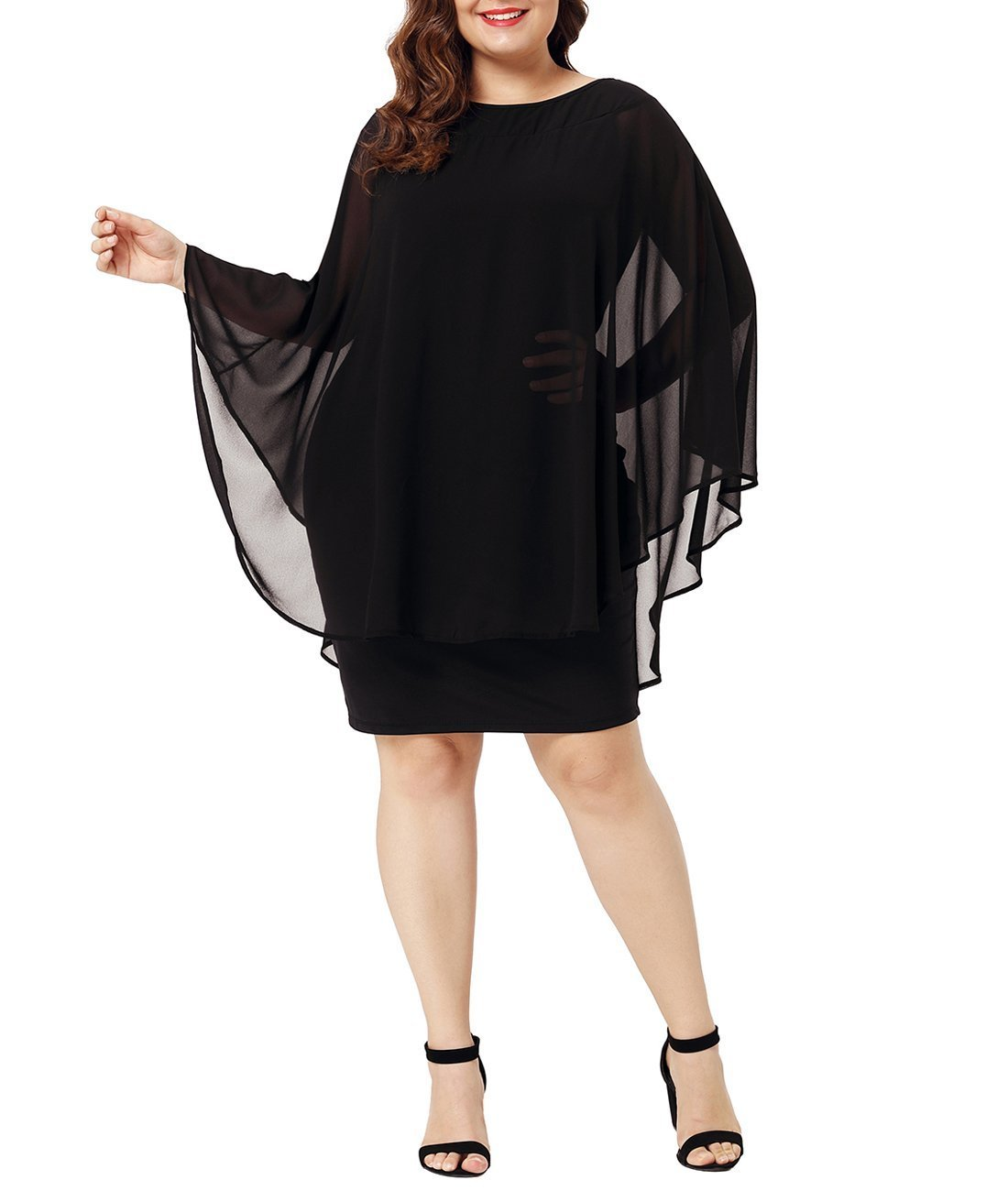 Lalagen Womens Plus Size Ruffle Bodycon Cocktail Party Pencil Dress with Cape Black XXL